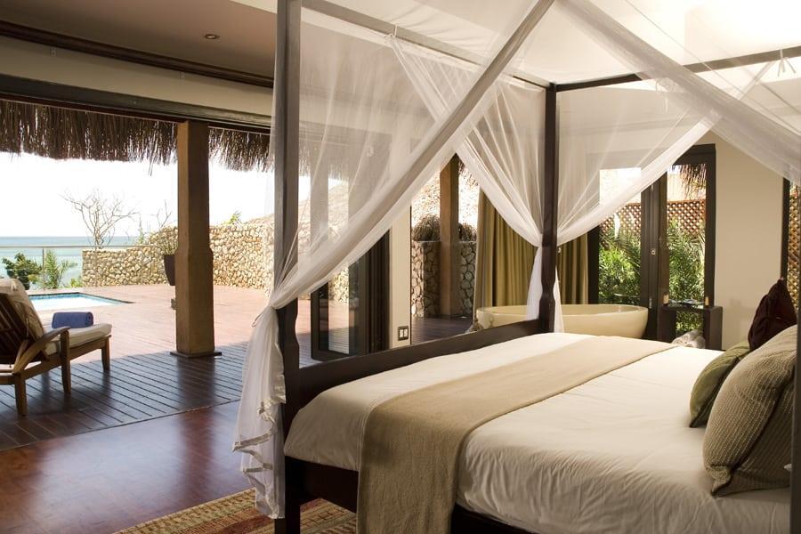 Anantara Bazaruto deluxe sea view pool villa bedroom deck view