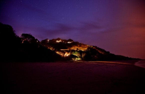 Night Lodge from beach