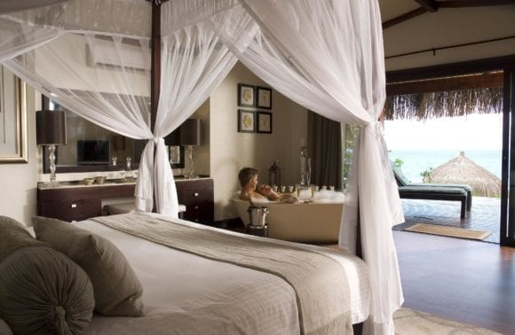 beach pool villa bedroom and view